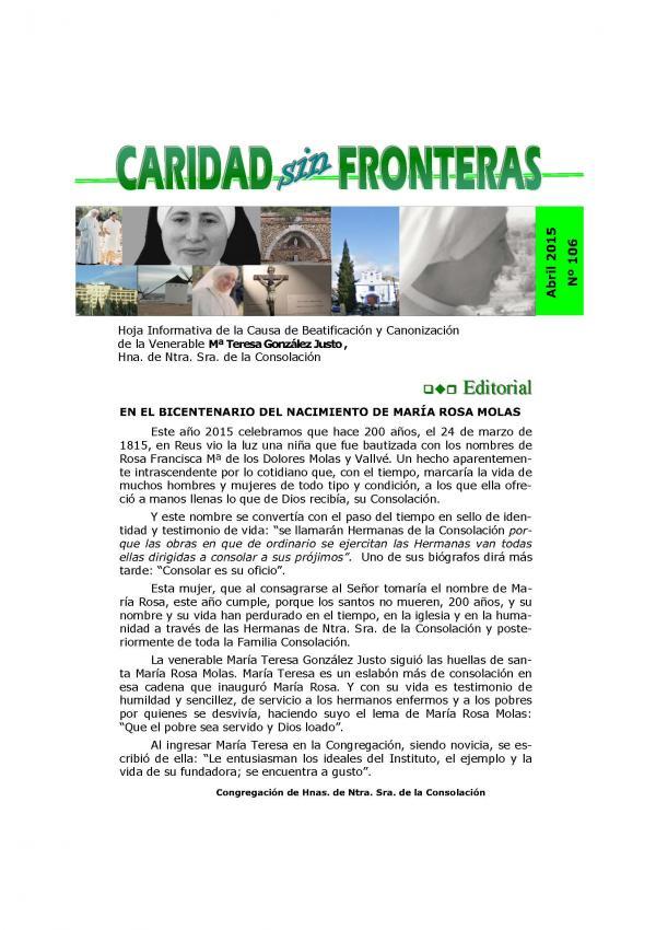 Caridad sin fronteras Nº 106